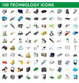 100 technology set cartoon style vector image