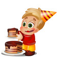 a little happy animated boy eating a piece of cake vector image vector image