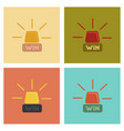 assembly flat icons poker win lamp vector image vector image