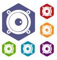 audio speaker icons set hexagon vector image vector image