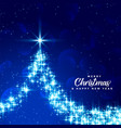 beautiful merry christmas blue sparkle tree vector image vector image