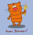 birthday greeting card cat character with a glass vector image
