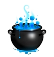 Black cauldron with blue witches potion vector image vector image