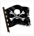 Black pirate flag with skull and bones vector image vector image