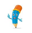 blue cute pencil mascot character vector image vector image