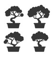 bonsai tree silhouette set vector image vector image