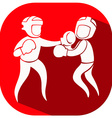 Boxing icon on red background vector image