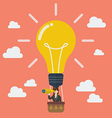 Business woman in lightbulb balloon search to vector image
