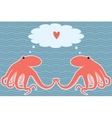 card with two octopuses vector image