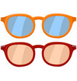 cartoon icon poster glasses spectacles red orange vector image