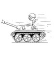 cartoon of soldier in small tank concept of war vector image vector image