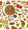 classical italian food pizza and slices with vector image vector image