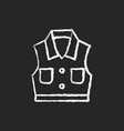 denim vest chalk white icon on dark background vector image