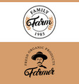 family farm and farmer hand written lettering vector image vector image