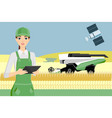 farmer controls an autonomous harvester vector image vector image