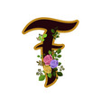 flower alphabet letter f decorated with roses and vector image vector image