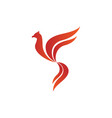 flying bird shape fire flames element emblem vector image