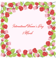 Frame of roses and tulips vector image vector image
