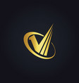 gold business finance check list logo vector image vector image