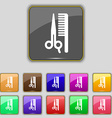 hair icon sign Set with eleven colored buttons for vector image