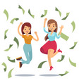 happy successful housewifes in money rain happy vector image vector image