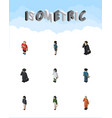 isometric person set of guy policewoman vector image vector image