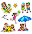 kids in summer vector image