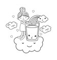 little girl with milk and rainbow kawaii character vector image