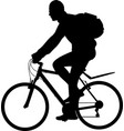 man riding bicycle silhouette vector image vector image