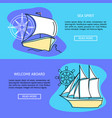 marine travel concept banner templates with place vector image