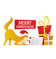 merry christmas postcard template with the cute vector image vector image