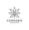 minimalist hemp cannabis marijuana logo icon vector image vector image