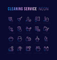 neon linear icons cleaning service vector image