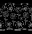 poppies and roses line on black vector image