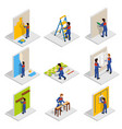 renovation isometric icons set vector image vector image