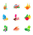 restaurant dinner icons set isometric style vector image vector image