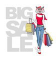 retro hipster animal girl owl big sale hipster vector image vector image