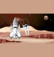 rocket and astronaut mars scene vector image