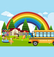 school scene with students and bus vector image vector image