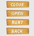 set button wooden style vector image