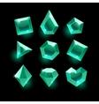 set cartoon greenemerald different shapes vector image vector image