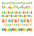 set multicolored flat buntings garlands flags vector image vector image