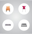 set of design realistic symbols with seating sofa vector image