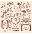 Set of wedding decorative elements vector image
