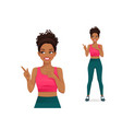 sport woman showing pointing away vector image vector image