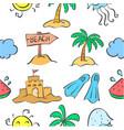summer beach pattern doodles vector image vector image