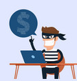 thief hacker stealing sensitive data as passwords vector image vector image