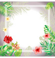 tropical flowers frame and border background vector image vector image