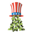 Uncle Sam hat and money American hat for vector image vector image