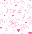 valentine day doodles pattern vector image vector image